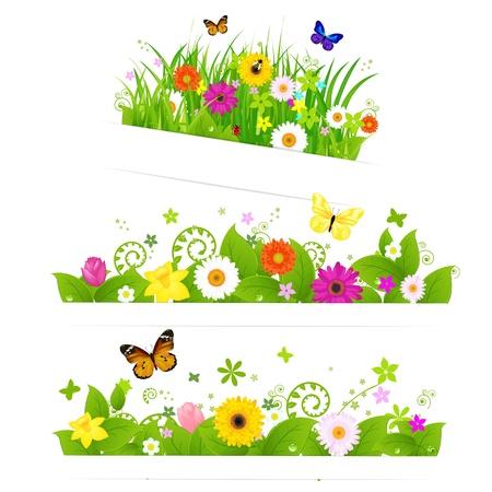 3 Spring Flower Bouquet, Geà ¯ soleerd op witte achtergrond, Vector Illustratie