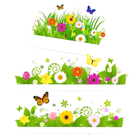 3 Spring Flower Bouquet, Isolated On White Background, Vector Illustration Vector