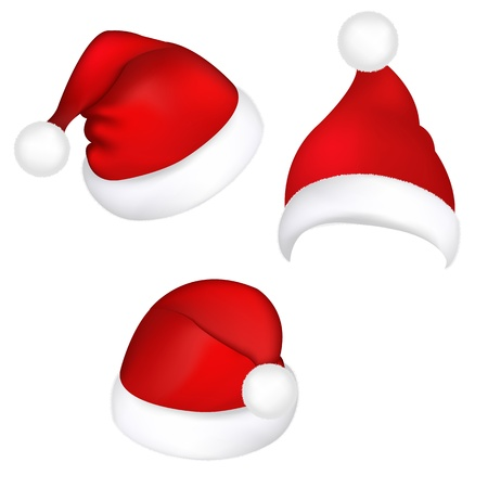 christmas hat: Three Santa Hats, Isolated On White Background, Vector Illustration