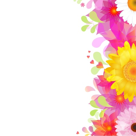 gerber flowers: Flower Background With Color Gerbers And Leafs, Isolated On White Background, Vector Illustration