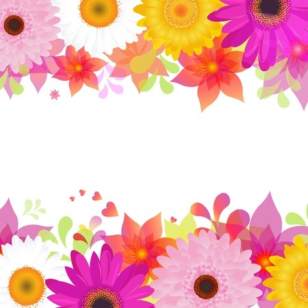 slingers: Bloem Achtergrond Met Gerbers en bladeren, op een witte achtergrond, Vector Illustratie