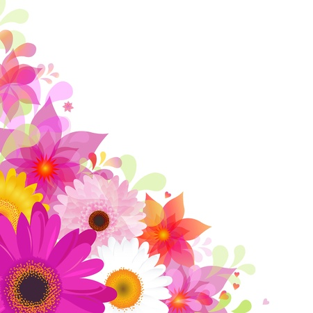 blue daisy: Flower Background With Gerbers And Leafs, Isolated On White Background, Vector Illustration