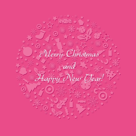 Merry Christmas And Happy New Year Card, Vector Illustration  Vector