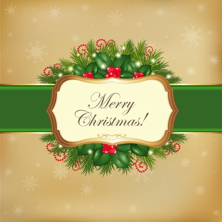 Merry Christmas Card With Garland, Vector Illustration  Vector