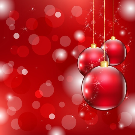 Red Christmas Background With Christmas Ball, Vector Illustration