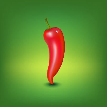Red Hot Pepper With Water Drop, Vector Illustration