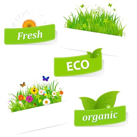 5 Paper Sticky With Green Grass And Flower, Isolated On White Background, Vector Illustration Stock Vector - 11534532