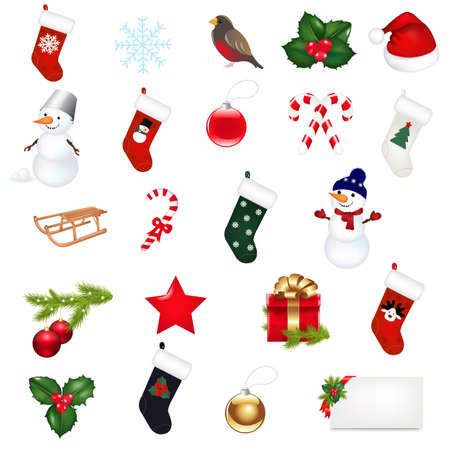 Big Christmas Icons Set, Isolated On White Background, Vector Illustration