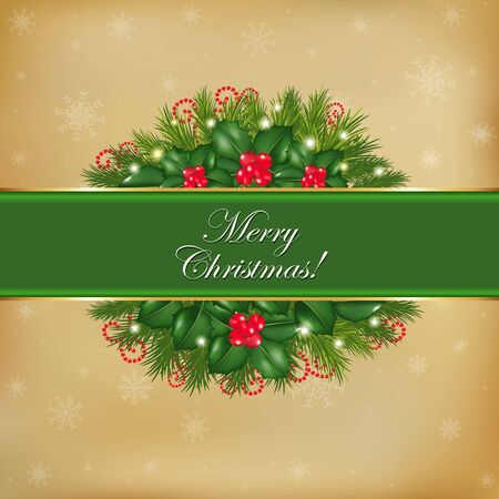 Merry Christmas Old Card, Vector Illustration Stock Vector - 11561532