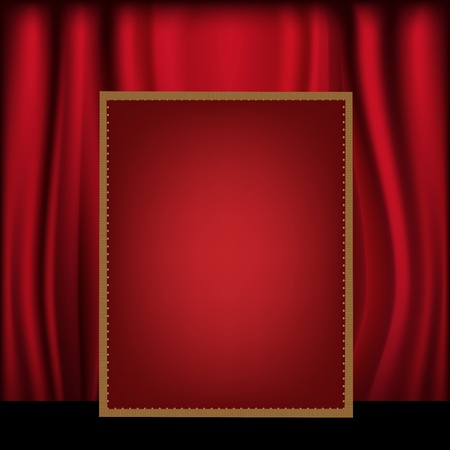 Red Curtain Background Blank Billboard, Vector Illustration Vector