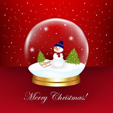 Snowman In Snow Globe, Vector Illustration 向量圖像