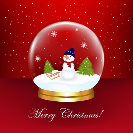 snow globe: Snowman In Snow Globe, Vector Illustration