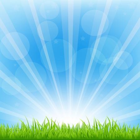 ciel: Fond Vert Avec Illustration Vecteur Sunburst,