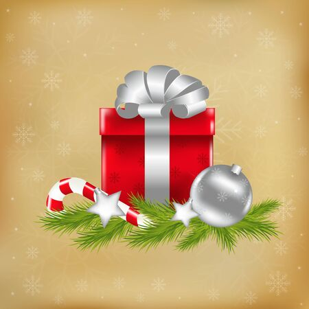 waxen: Xmas Illustration With Gift, Vector Illustration Illustration