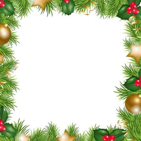 houx: Joyeux No�l frontaliers, Isol� sur fond blanc, Illustration vectorielle