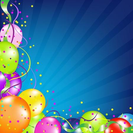 carnaval: Verjaardag Achtergrond met ballonnen en Sunburst, Vector Illustratie