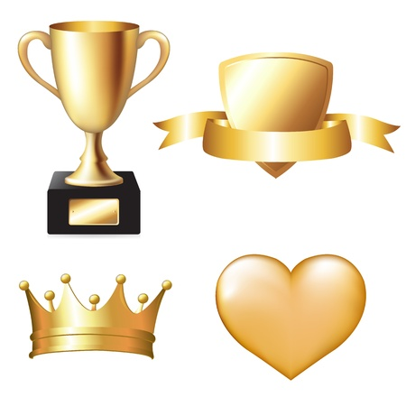 heart and crown: Gold Trophy Set, Vector Illustration