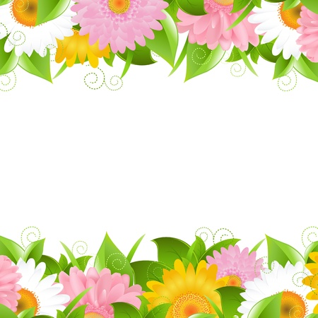 Flower And Leaves Border, Vector Illustration  Vector