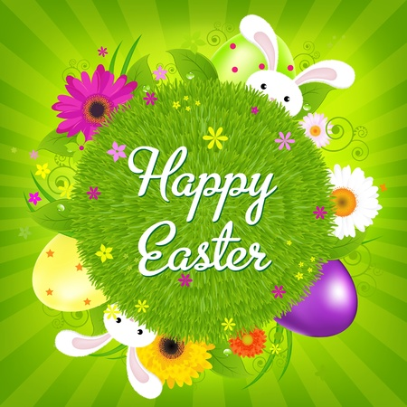 Colorful Happy Easter Card, Vector Illustration Stock Illustration - 12006547
