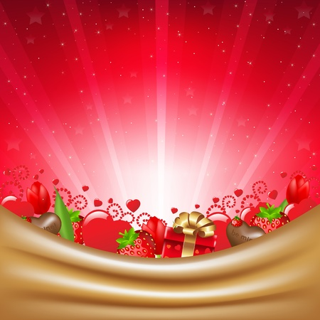 Valentines Day Card With Sunburst, Vector Illustration     Vector