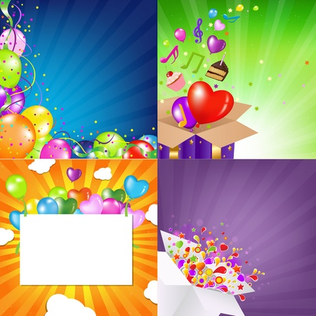 Birthday Backgrounds Set With Sunburst  Vector Illustration  Vector