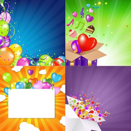 fruitcakes: Birthday Backgrounds Set With Sunburst  Vector Illustration