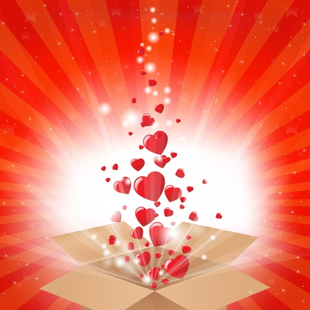 love explode: Gift Box With Stars And Hearts, Vector Illustration