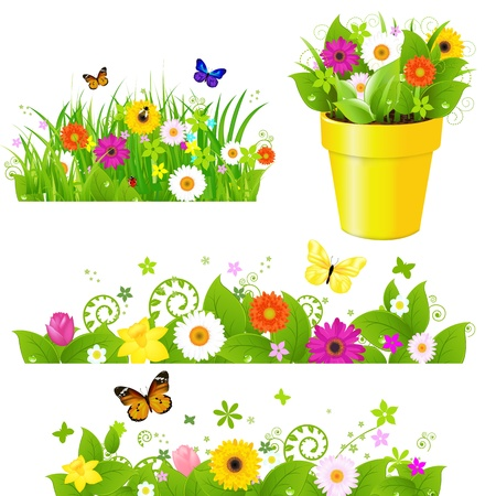 butterfly ladybird: Green Grass With Flowers Set, Isolated On White Background, Vector Illustration  Illustration