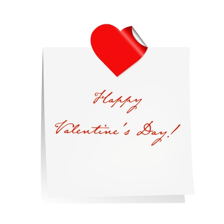 Happy Valentines Day Blank Note Paper, Isolated On White Background, Vector Illustration