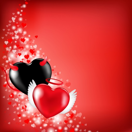 Heart Valentines Background, Vector Illustration   Vector