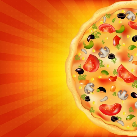 pepperoni pizza: Pizza Poster With Sunburst, Vector Illustration