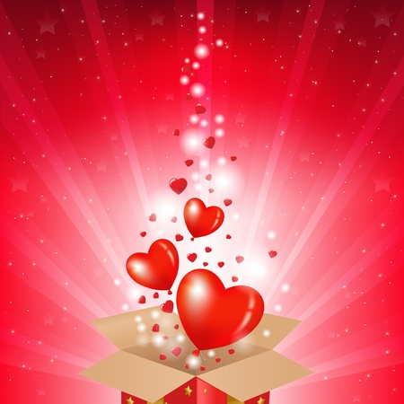 Valentines Day Card With Box And Sunburst, Vector Illustration Vector