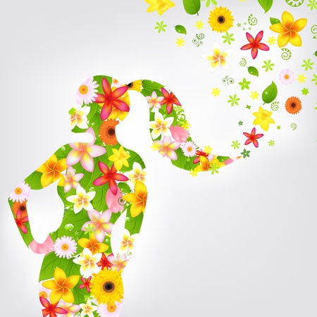 flowing hair: Woman And Flower, Vector Illustration
