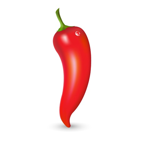 Red Hot Pepper With Drop, Vector Illustration  Illustration