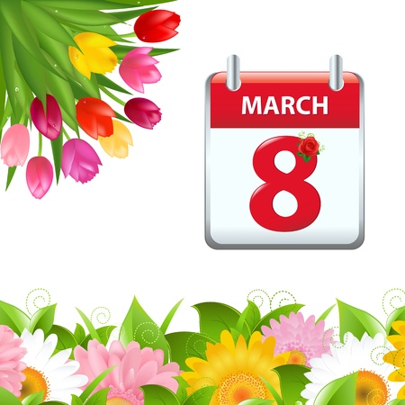 Calendar And Flower Border, Isolated On White Background Vector