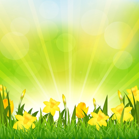 Flowers Easter Background Vector
