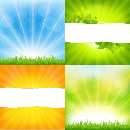 desktop background: Green And Orange Backgrounds With Sunburst Illustration