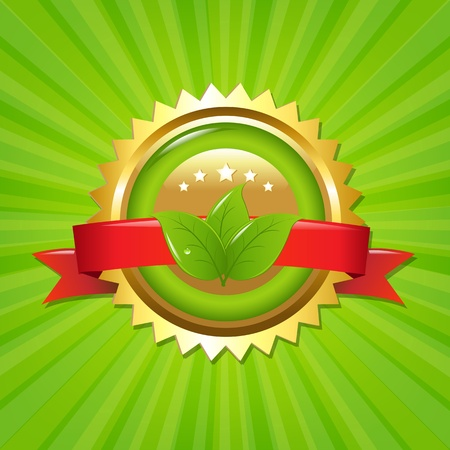 Eco Label With Sunburst Illustration Vector