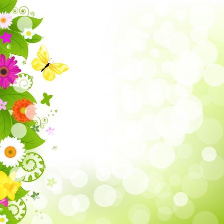 bordures fleurs: Fleur d'herbe et de fleurs Illustration
