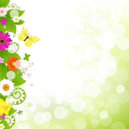 cenefas flores: Flor con hierba y flores Ilustración Vectores