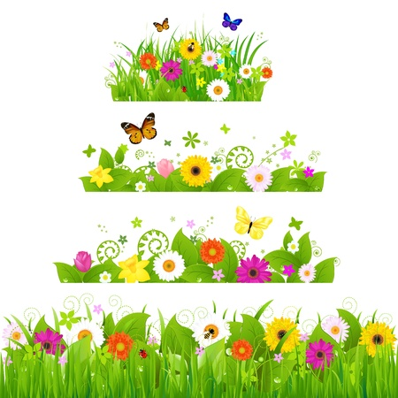 Grass With Flowers Set Illustration Vector