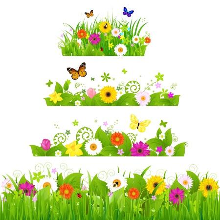 gerber: Grass With Flowers Set Illustration Illustration