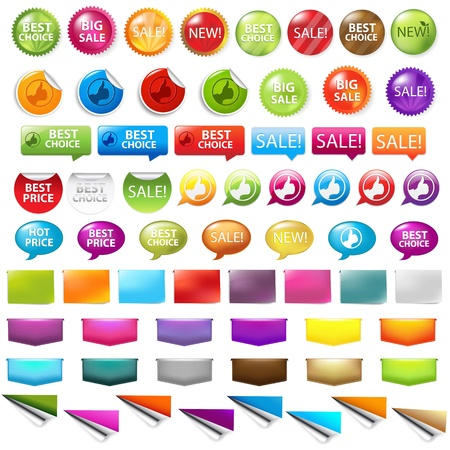 best price icon: Sale Labels Set Isolated On White Background Illustration
