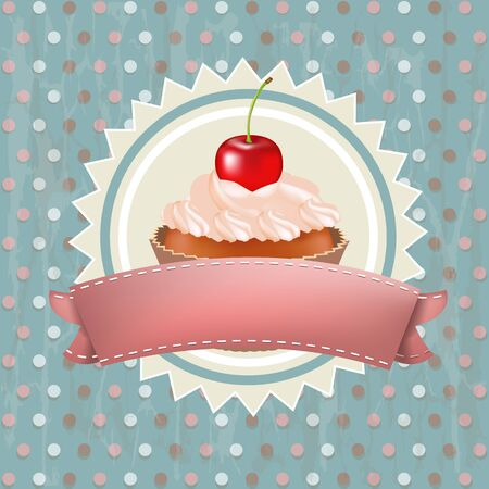 Birthday Cupcake With Cherry Vector