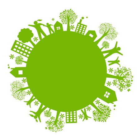 Green Eco Earth, Isolated On White Background, Vector Illustration 向量圖像