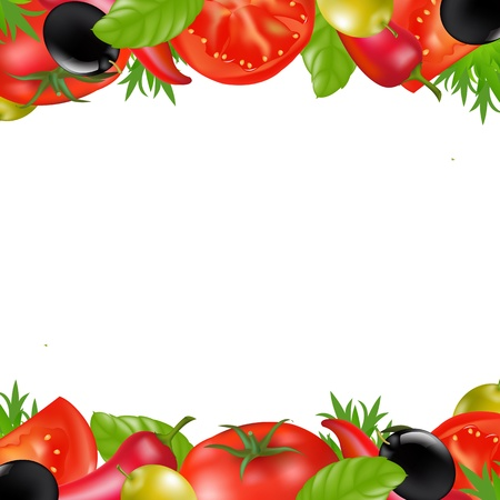 Border With Vegetables, Isolated On White Background, Vector Illustration Stock Vector - 13429085