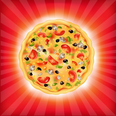 Red Sunburst Background With Pizza, Vector Illustration Vector
