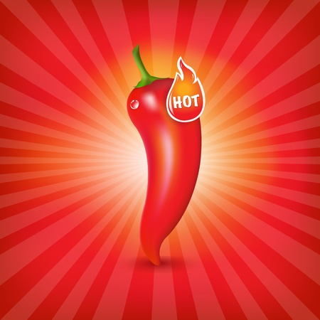 green chilli: Sunburst Background With Red Hot Pepper, Vector Illustration Illustration