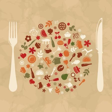 the land of menu: Vintage Restaurant Design, Old Paper, Vector Illustration