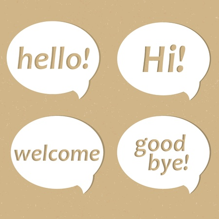 good bye: Cardboard Paper In Bubble Speech Shape Illustration